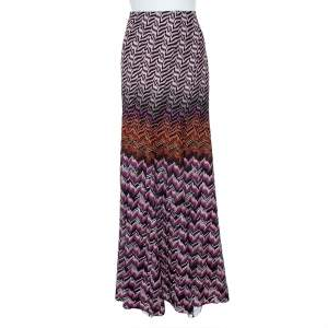 Missoni Multicolor Lurex Chevron Knit Maxi Skirt L