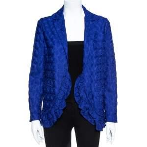 Missoni Electric Blue Silk Blend Ruffle Detail Crochet Blazer S