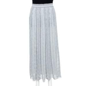Missoni Metallic Silver Jacquard Knit Maxi Skirt S