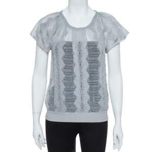 Missoni Metallic Silver Jacquard Knit Raglan Sleeve Top S