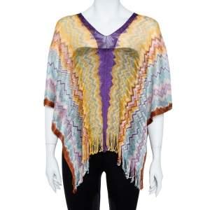 Missoni Multicolor Chevron Knit Fringed Poncho ( One Size )