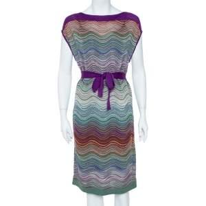 M Missoni Purple & Green Wool Blend Belted Dress M