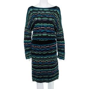 فستان ميزوني ميدي مزيج مخطط متعدد الألوان L