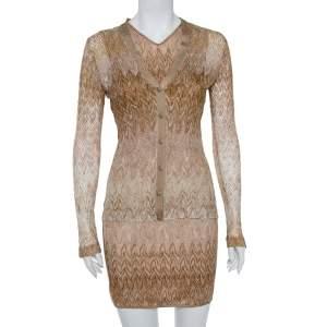 Missoni Beige Lurex Knit Cardigan and Midi Dress Set M