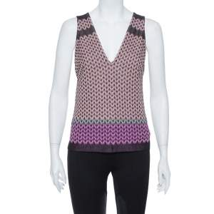 Missoni Pink Lurex Knit V Neck Top M