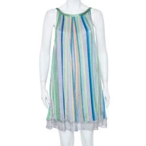 فستان ميزوني قصير تريكو شبكة صيد سمك مخطط متعدد الألوان M