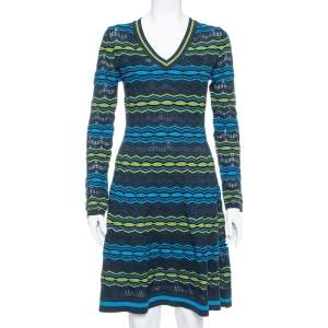 M Missoni Multicolor Perforated Knit Fit & Flare Midi Dress M