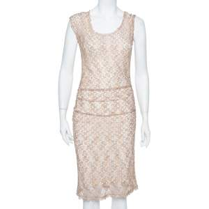 Missoni Beige Open Knit Ruched Midi Dress S
