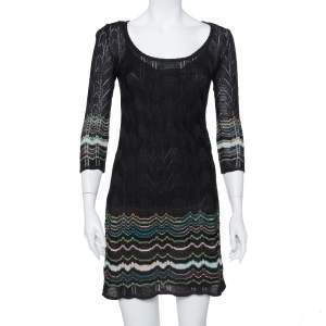 M Missoni Black Perforated Wool Knit Sheath Dress S