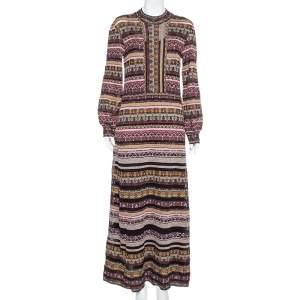 فستان ماكسي إم ميزوني تريكو لوريكس متعدد الألوان بعنق مرتفع مقاس كبير - لارج