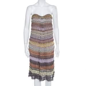 فستان ميزوني تريكو متعدد الألوان بلا حمالات مقاس متوسط - ميديوم