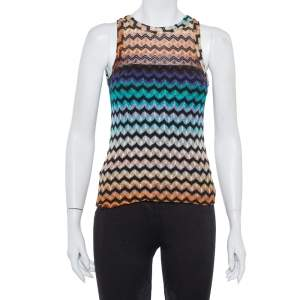 Missoni Multicolor Chevron Patterned Knit Sleeveless Top S