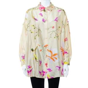 Missoni Cream Abstract Printed Silk Oversized Button Front Shirt S