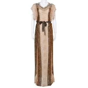 فستان ميزوني ماكسي مزخرف أحجار بلا أكمام حزام تريكو لوريكس بيج مقاس متوسط (ميديوم)