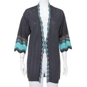 M Missoni Grey Wave Patterned Wool Open Front Cardigan M