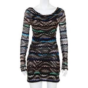 Missoni Black Lurex Knit Bateau Neck Shift Dress S