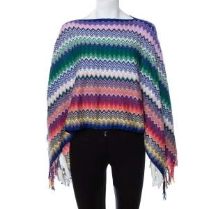 Missoni Multicolor Chevron Patterned Knit Fringe Detail Poncho (One Size)