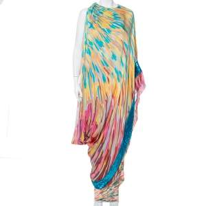 Missoni Multicolor Silk Embellished Cape Detail Sleeveless Maxi Dress M