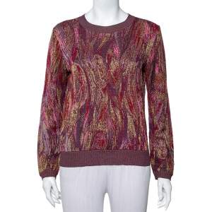 Missoni Burgundy Knit Long Sleeve Crewneck Sweater M