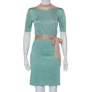 Missoni Mint Green & Pink Lurex Knit Belted Mini Dress M