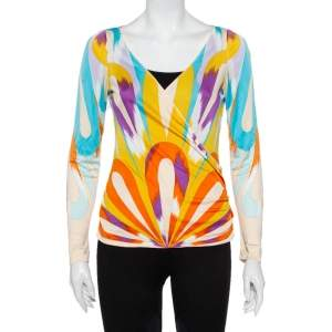 Missoni Multicolour Knit Faux Wrap Ruched Detail Top M