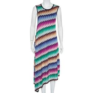 Missoni Multicolor Patterned Knit Asymmetric Hem Midi Dress S