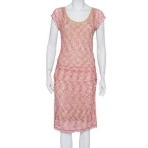 Missoni Pink & Beige Knit Ruched Sleeveless Midi Dress M