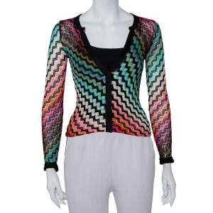 Missoni Multicolor Gradient Knit Deep V-Neck Top S