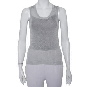 Missoni Silver Lurex Knit Tank Top S