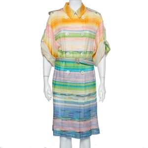 Missoni Multicolor Striped Knit Double Breasted Lightweight Short Sleeve Coat S