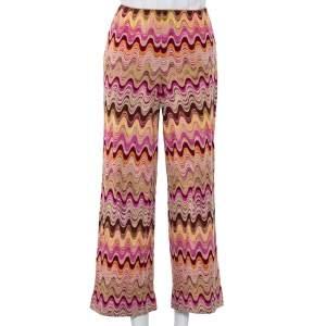 Missoni Pink Wavy Wool Blend Knit Palazzo Trousers M