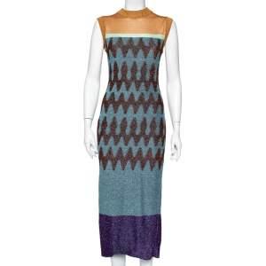 فستان ميزوني ضيق بلا أكمام تريكو لوركس متعدد الألوان مقاس متوسط