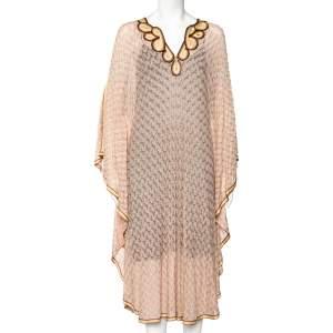 Missoni Light Pink Lurex Knit Contrast Trim Detail Sheer Kaftan Dress M