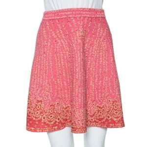 M Missoni Pink & Red Metallic Jacquard Knit Mini Skirt S