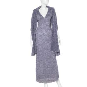 Missoni Purple Lurex Knit Shawl Detail Sleeveless Plunge Neck Dress M