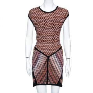 Missoni Burnt Orange Zig Zag Pattern Knit Short Dress M