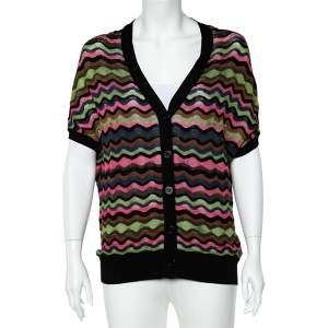 Missoni Multicolor Wavey Knit Short Sleeve Cardigan M