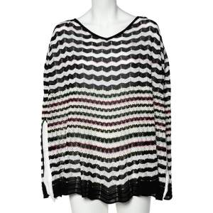 Missoni Multicolored Zig Zag Patterned Knit Poncho (One Size)