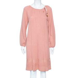 M Missoni Dusky Pink Perforated Knit Neck Tie Detail Midi Dress M