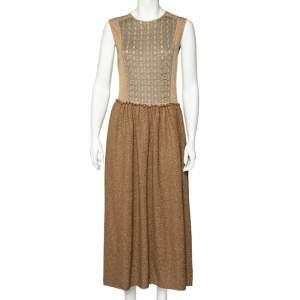 M Missoni Brown Patterned Lurex Knit Sleeveless Maxi Dress L