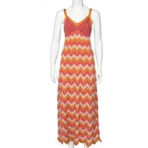 M Missoni Collection Multicolor Zig Zag Pattern Lurex Knit Maxi Dress S