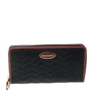 Missoni Black Zigzag Embossed Leather Zip Around Continental Wallet