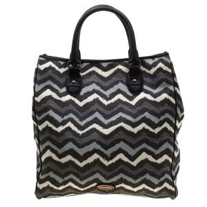 Missoni Multicolor Wave Printed Canvas and Leather Tote