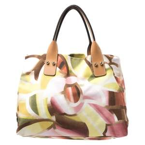 Missoni Multicolor Printed Canvas and Leather Tote