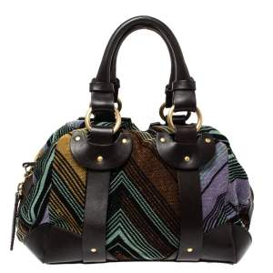 Missoni Multicolor Lamé Fabric and Leather Zipped Satchel