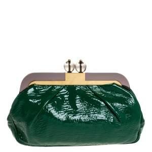 Missoni Green Patent Leather Kisslock Frame Clutch