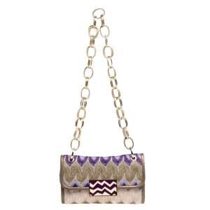 Missoni Multicolor Shimmering Weave Fabric Flap Shoulder Bag
