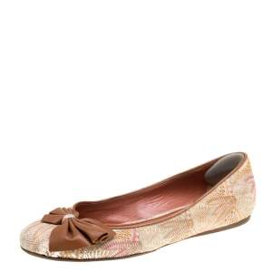 Missoni Multicolor Woven Fabric Bow Detail Ballet Flats Size 38.5