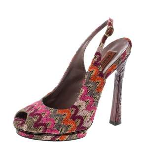 Missoni Multicolor Patterend Fabric Peep Toe Slingback Sandals Size 38