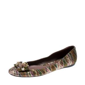 Missoni Multicolor Knit Fabric Embellished Ballet Flats Size 37